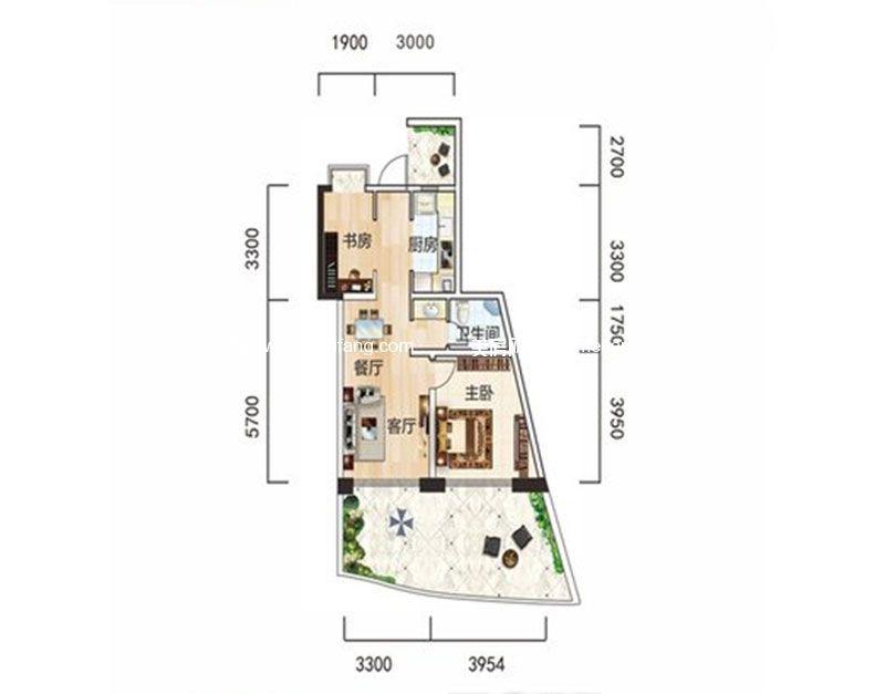 白金海岸 二期B1户型 2室2厅1卫1厨 建面67.55㎡
