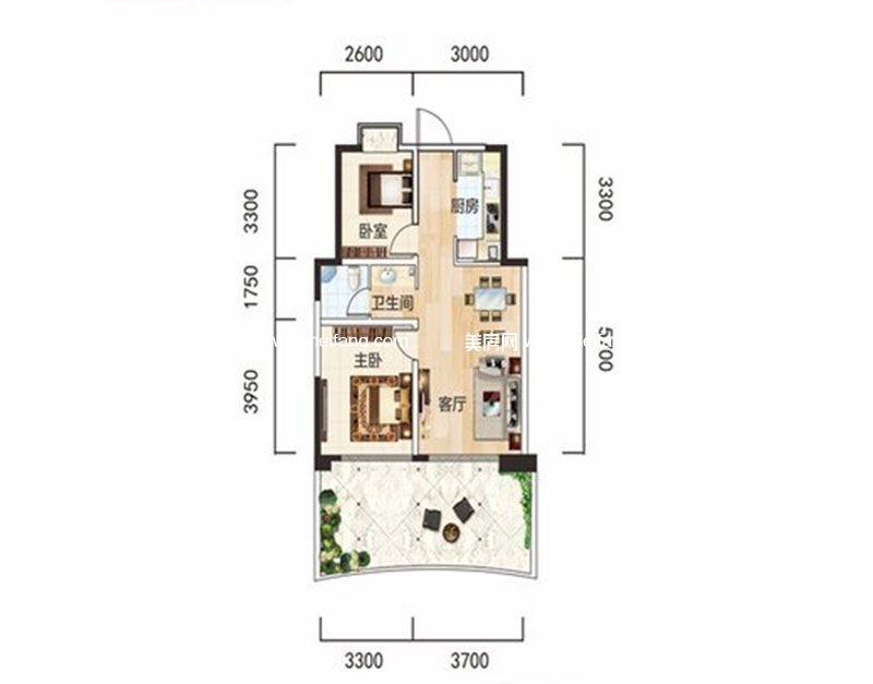 白金海岸 二期B2户型 2室2厅1卫1厨 建面74.16㎡