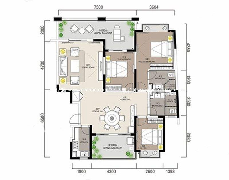 白金海岸 G5户型1 3室2厅2卫1厨 建面114.90㎡