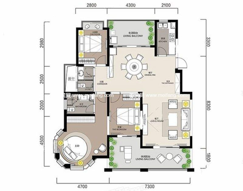 白金海岸 G5户型2 3室2厅2卫1厨 建面123.10㎡