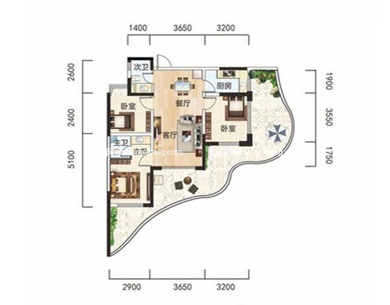 白金海岸 二期C1户型 3室2厅2卫1厨 建面92.32㎡
