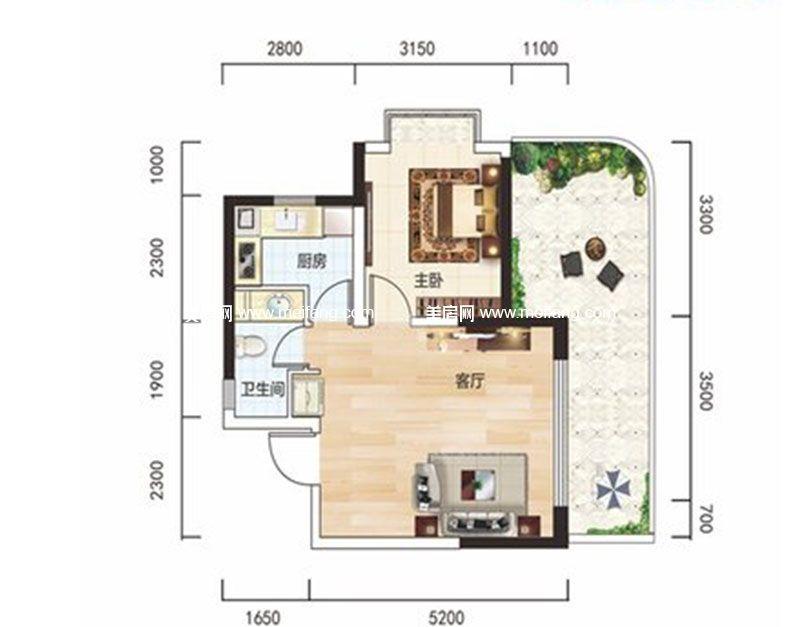 白金海岸 二期A1户型 1室1厅1卫1厨 建面53.59㎡