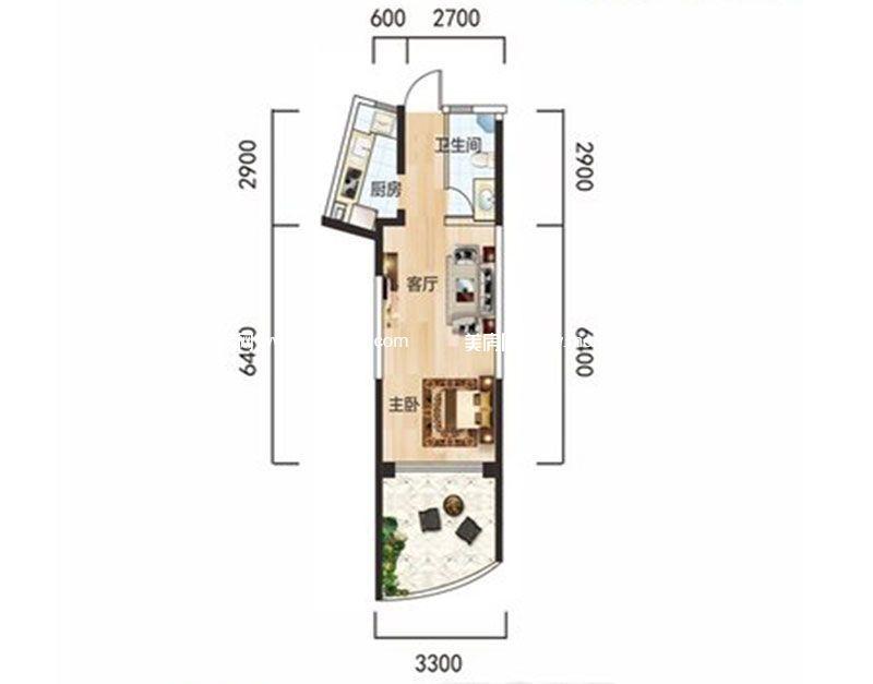 白金海岸 二期A2户型 1室1厅1卫1厨 建面43.54㎡