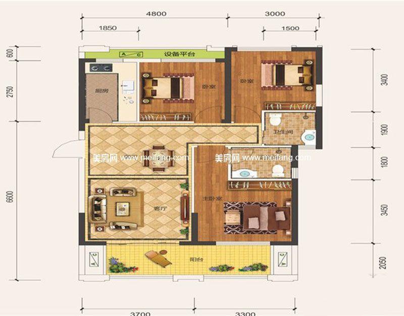 滨海新天地 二期C1户型 3室2厅2卫1厨 建面101.69㎡