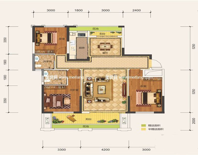滨海新天地 二期C3户型 3室2厅2卫1厨 建面126.14㎡