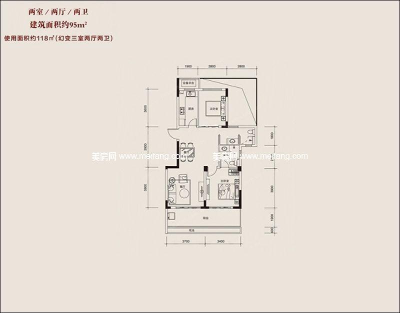 红塘湾鲁能公馆 B户型 2室2厅2卫 建面95㎡
