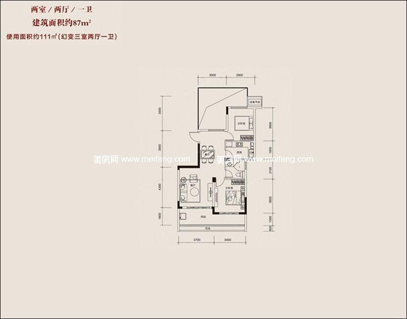 红塘湾鲁能公馆 D户型 2室2厅1卫1厨 建面87㎡