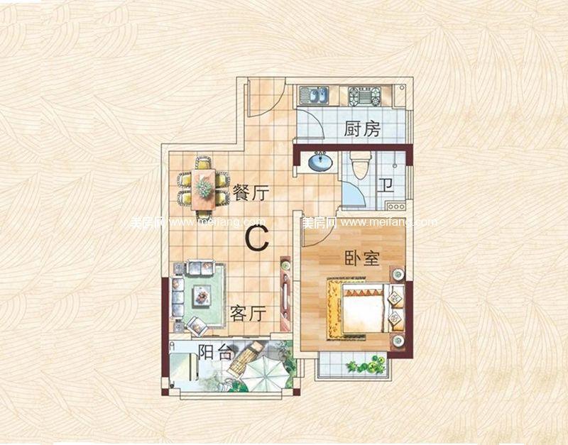 兴业福苑 C户型图 1室2厅1卫1厨 57.10㎡