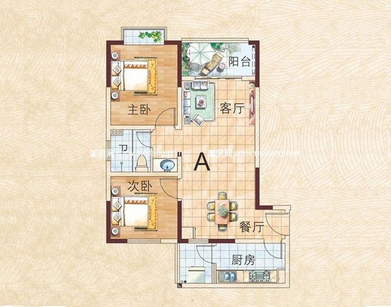 兴业福苑 A户型图 2室2厅1卫1厨 84.12㎡
