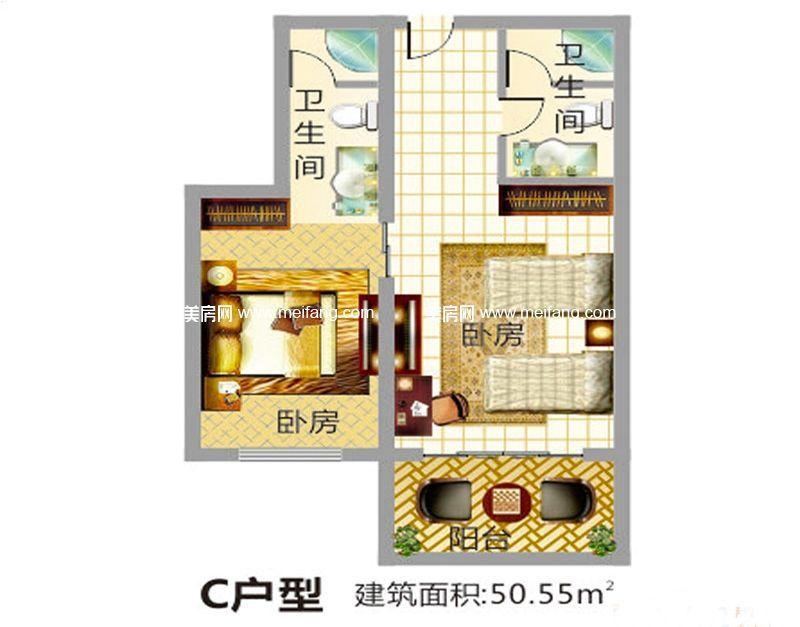 东方假日 产权式酒店C户型 2室2卫 建面50.55㎡