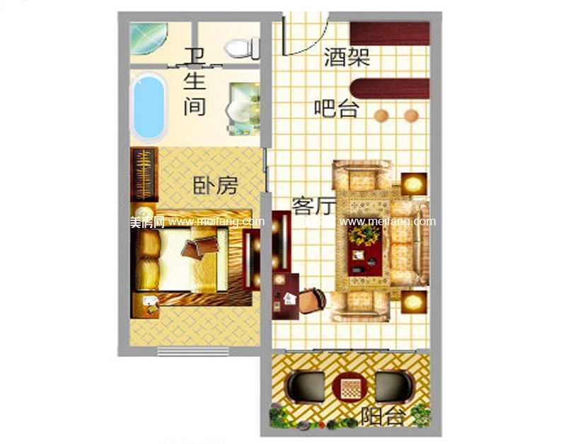东方假日 产权式酒店D户型 1室1厅1卫 建面54.85㎡