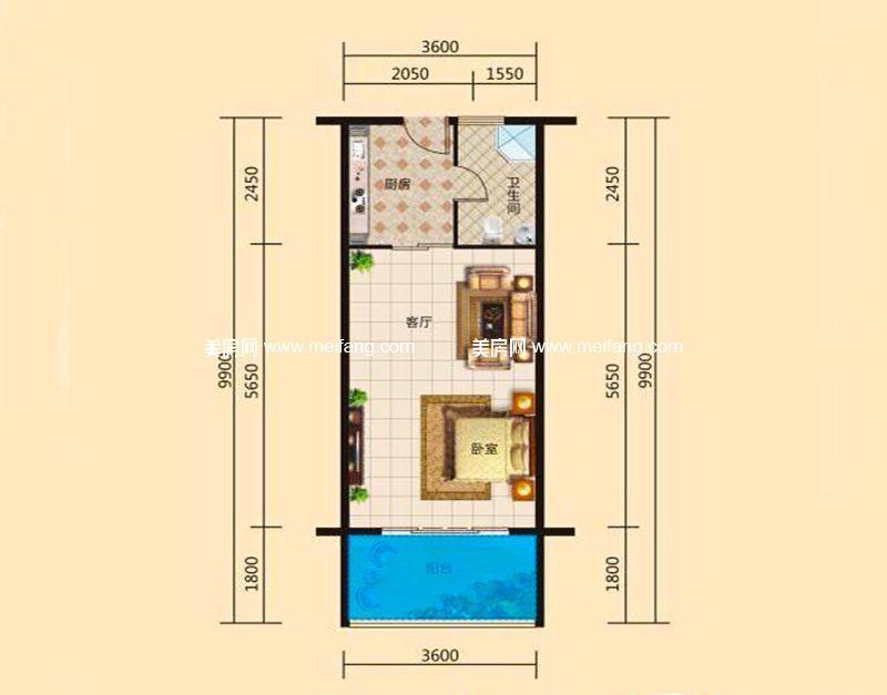 东方假日 E户型 1室1厅1卫1厨 建面39.84㎡