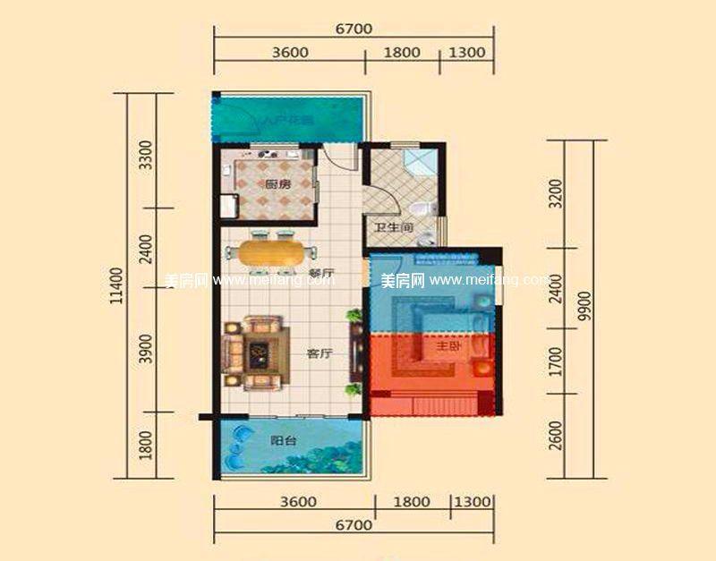 东方假日 F户型 1室2厅1卫1厨 建面54.80㎡