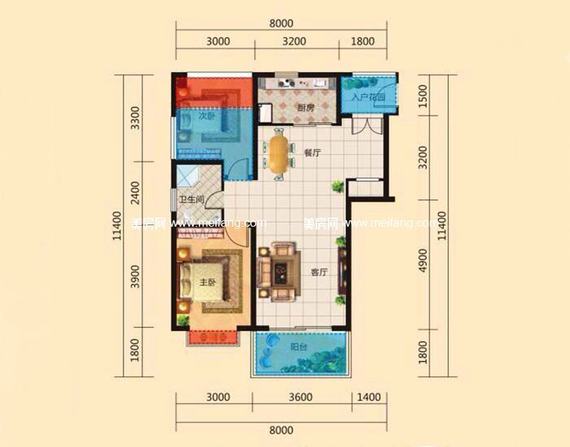 东方假日 B户型 2室2厅1卫1厨 建面80.09㎡