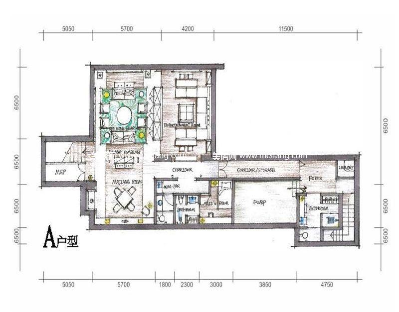 三亚太阳湾别墅 A户型 2室2厅3卫1厨 建面179.33㎡
