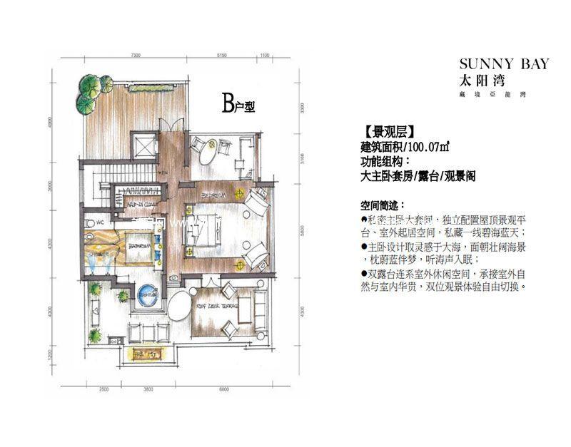 三亚太阳湾别墅 B户型景观层 6室2厅8卫2厨 建面1031㎡