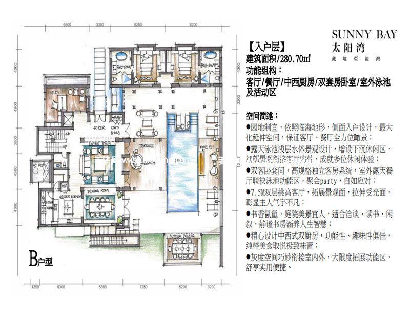三亚太阳湾别墅 B户型入户层 6室2厅8卫2厨 建面1031㎡