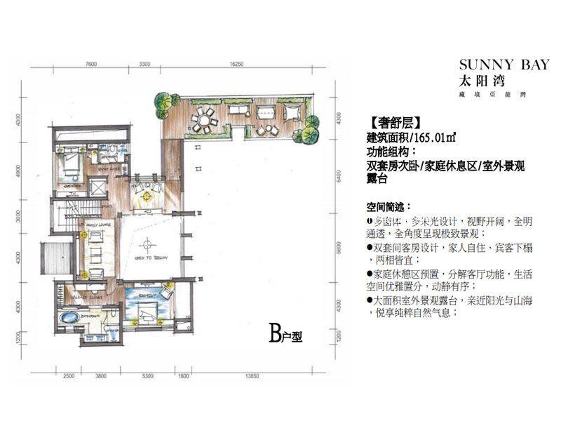 三亚太阳湾别墅 B户型著舒层 6室2厅8卫2厨 建面1031㎡
