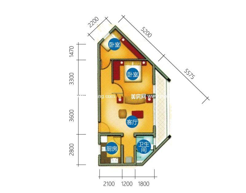 椰风海韵 C-1-1户型 2房1厅1厨1卫 77㎡