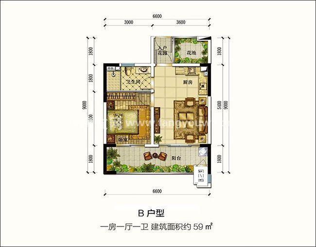 恒大御海天下公寓B戶型1室1廳1衛1廚59㎡ 恒大御海天下在售戶型二: