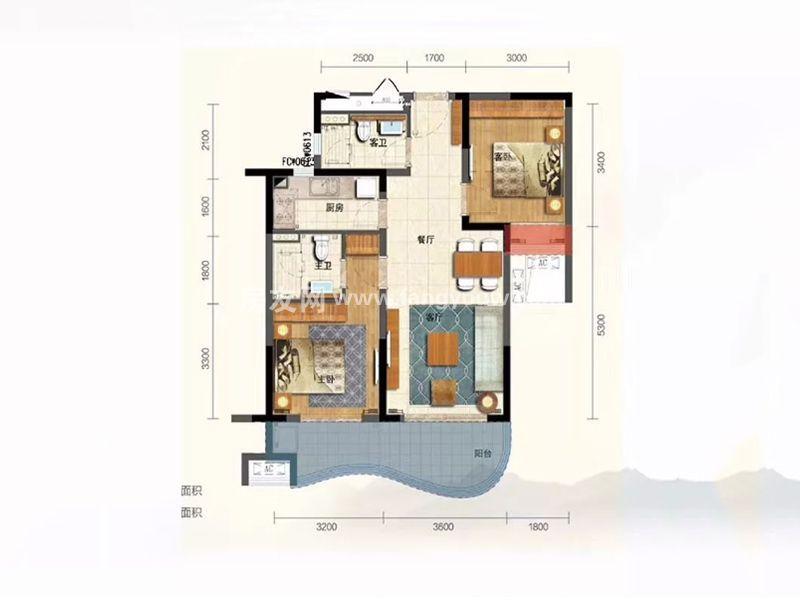 新华联香水湾 B2户型 2房2厅2卫1厨 建面86㎡