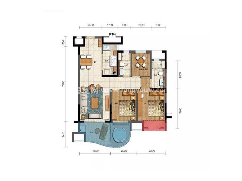 新华联香水湾 A2户型 3房2厅2卫1厨 建面96㎡