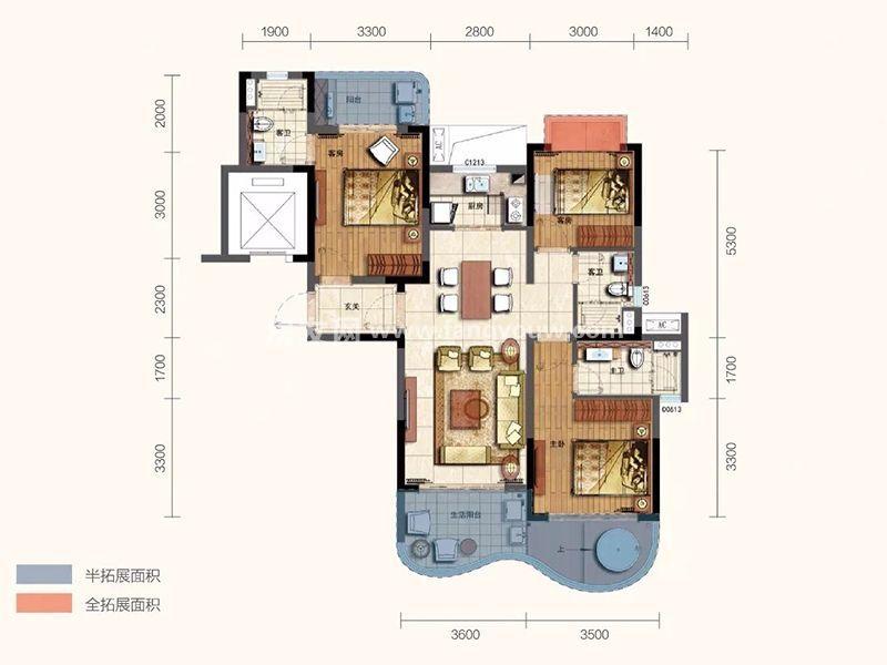 新华联香水湾 B1户型 3房2厅2卫1厨 建面120㎡