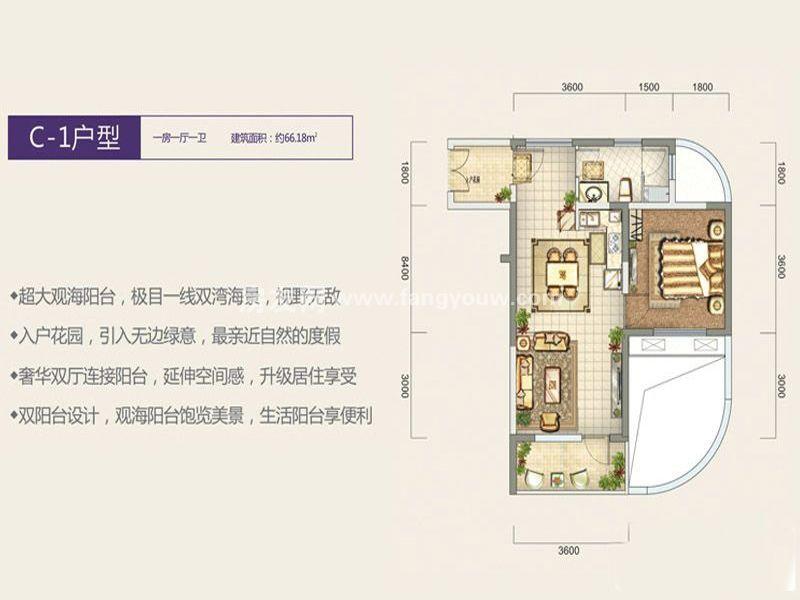 宏图高龙湾1号 C-1户型 1房1厅1卫1厨  建面66㎡