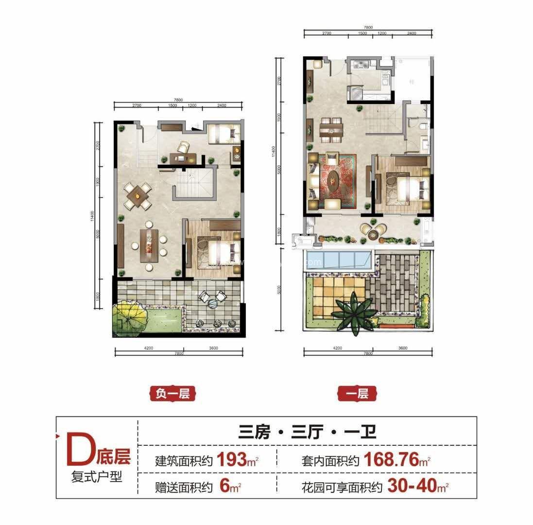 D底层复式户型 3室3厅1卫1厨 建面193㎡