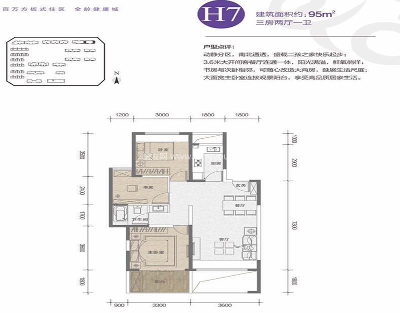 大华锦绣海岸 H7户型 3室2厅1卫1厨 95㎡
