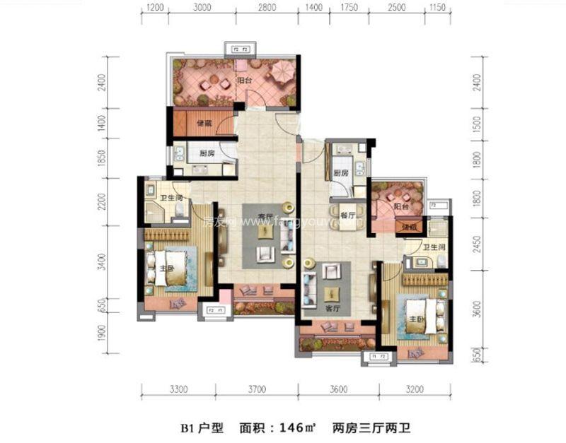环球100宝龙城 B1户型 2室3厅2卫1厨 146㎡