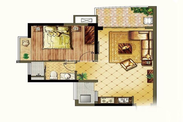 颐养公社阳光城 二期A7户型1室1厅1卫1厨62㎡