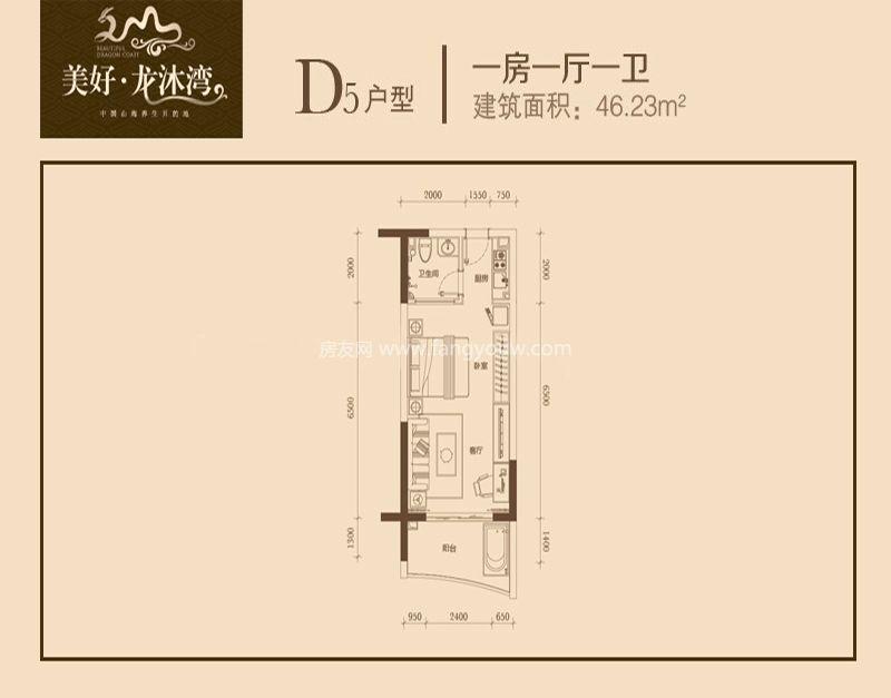 D5户型 1室1厅1卫1厨 46㎡