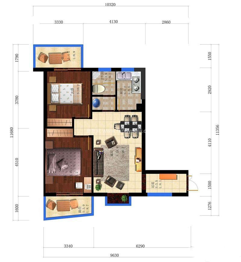 A4户型 2室2厅1卫1厨 78.36㎡