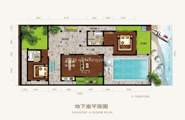 亚龙湾壹号 A、A1别墅A1地下室平面图
