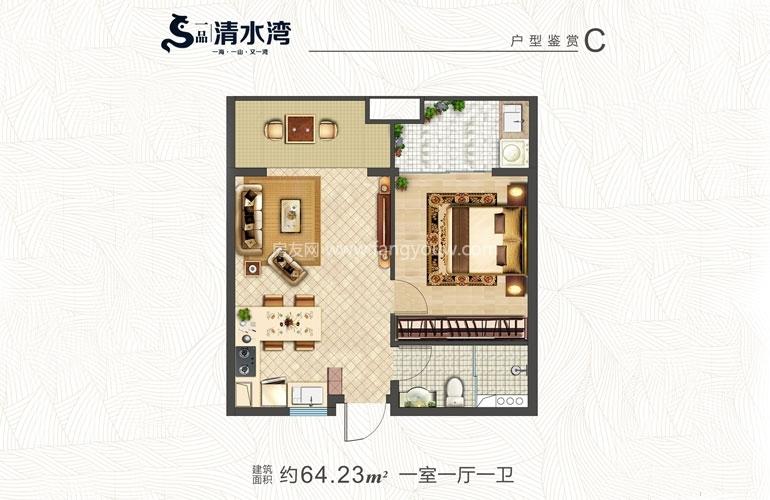 一品清水湾 C户型 1房1厅1厨1卫 建面64.23㎡