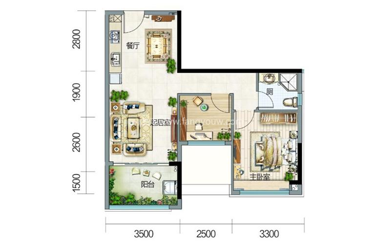 5栋3户型 2室2厅1卫 建面69㎡
