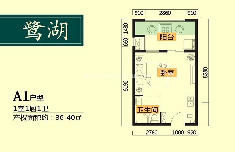 鹭湖国际养生度假区 A1户型 1室1厅1卫1厨 建面36㎡