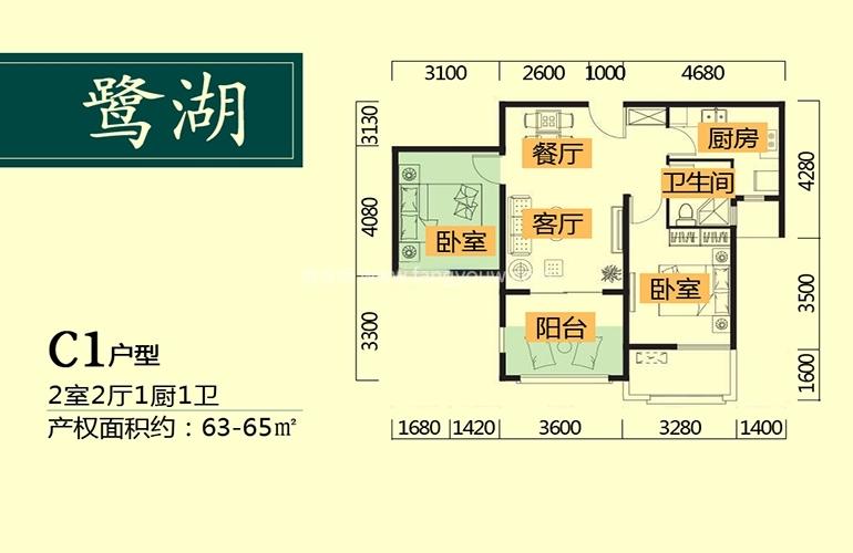 鹭湖国际养生度假区 C1户型 2室2厅1卫1厨 建面63㎡