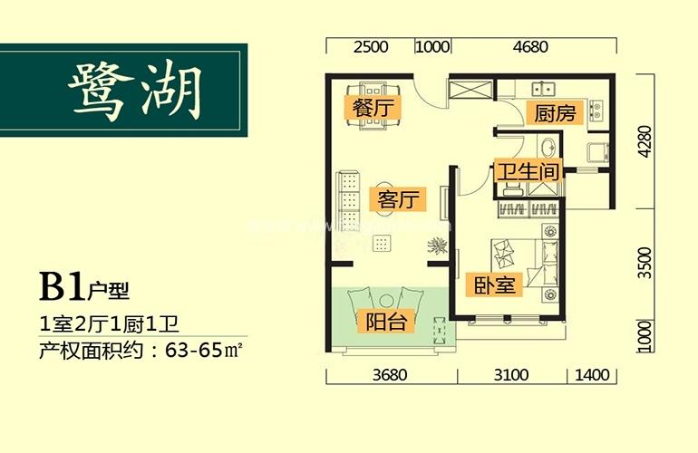 鹭湖国际养生度假区 B1户型 1室2厅1卫1厨 建面63㎡