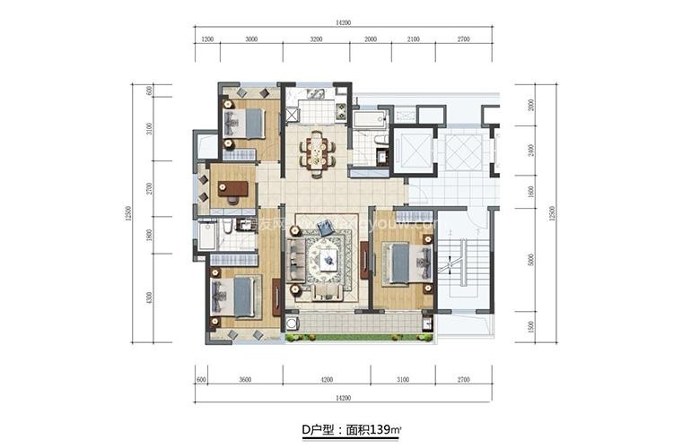 D户型 3室2厅2卫 约139㎡