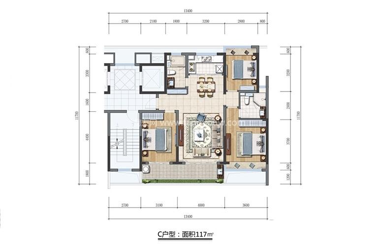 三亞蘭園 C戶型 3室2廳2衛 建面約117㎡