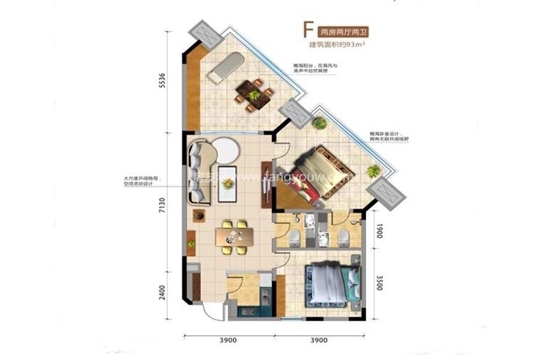 F户型2室2厅2卫 建面93㎡