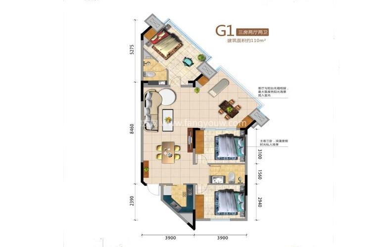 G1户型 3室2厅2卫 建面110㎡