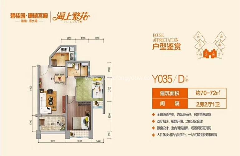 碧桂园珊瑚宫殿 Y035 D户型 2室2厅1卫 建面70-72㎡