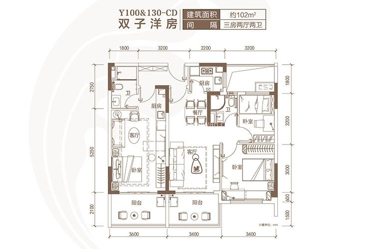 碧桂园海棠盛世 Y100CD户型 3室2厅2卫 建面102㎡