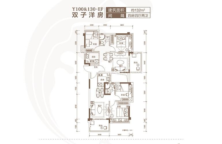 碧桂园海棠盛世 Y100EF户型 4室2厅2卫 建面132㎡