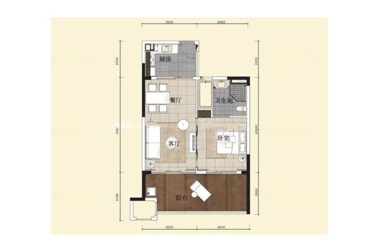 华润石梅湾九里 二期公寓A户型 1室2厅1厨1卫 建面68㎡