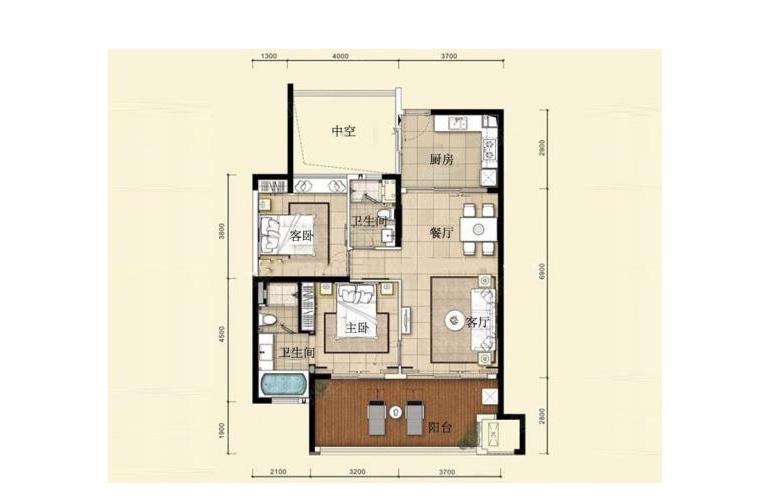 华润石梅湾九里 二期公寓B户型 2室2厅1厨2卫 97.00㎡