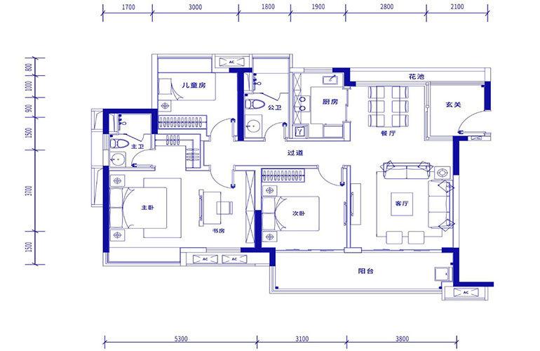 保利浅海 A1户型-3室2厅2卫 建面123㎡